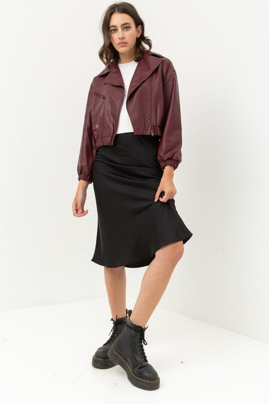 Not Your Boyfriends Burgundy Leather Bomber