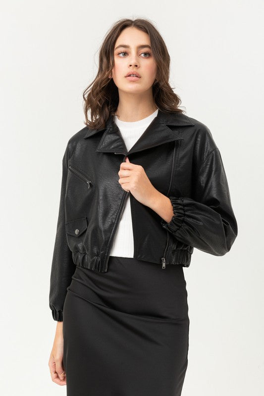 Not Your Boyfriends Black Leather Bomber
