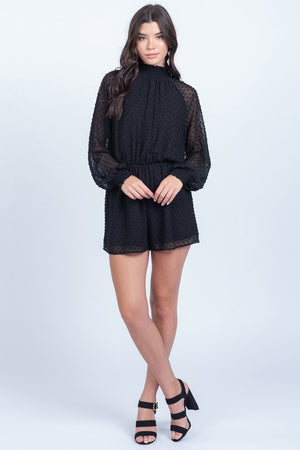 Dot What It Takes Black Sheer Long Sleeve High Neck Romper