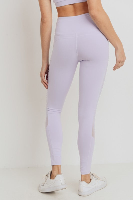 Lavender High Waisted Moto Leggings with Mesh