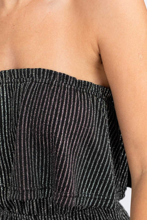 Shimmer On Over Black & Silver Strapless Jumpsuit