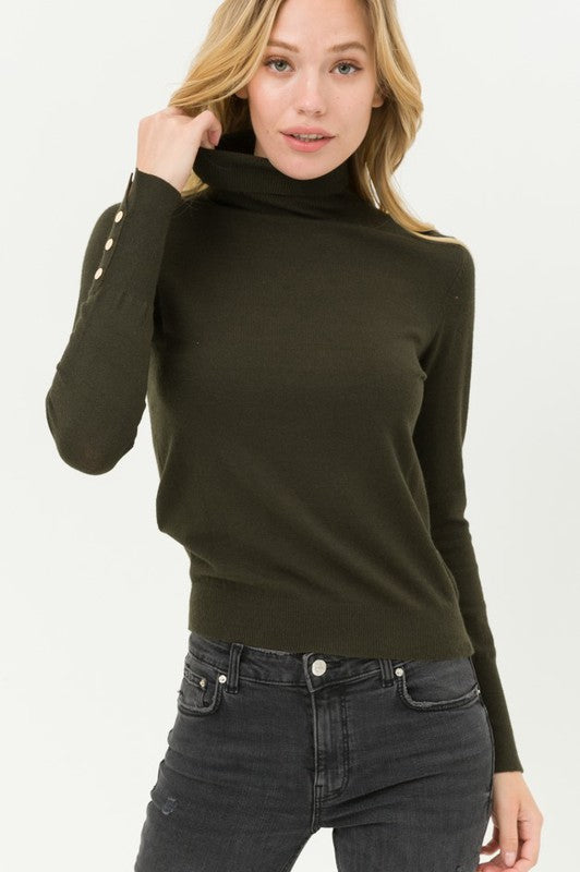 All Set Turtleneck Olive Sweater