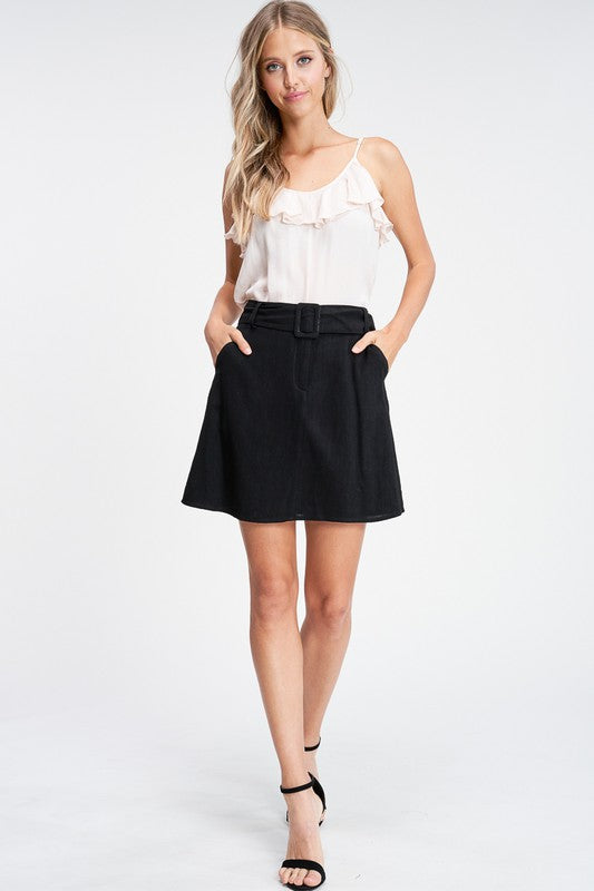 Buckle Up Black High Waisted Belted Mini Skirt