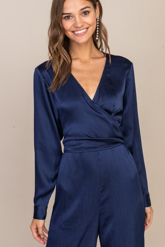It's A Wrap Navy Long Sleeve Wide Leg Jumpsuit