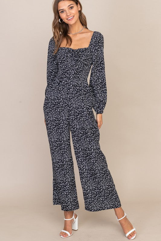 Black Floral Puffed Long Sleeve Jumpsuit