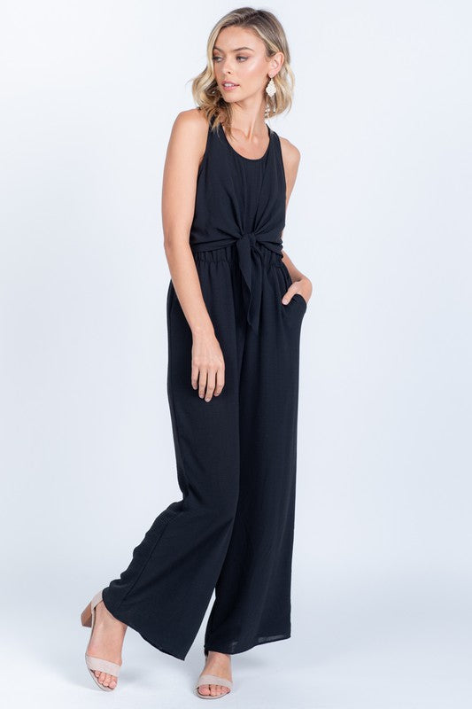Love Me Knot Black Sleeveless Tie Front Jumpsuit