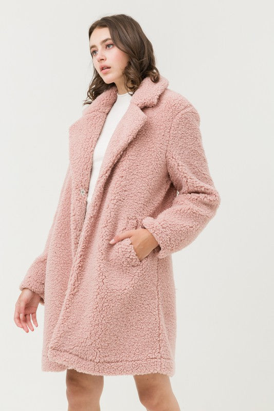 Teddy or Not Pink Faux Fur Coat