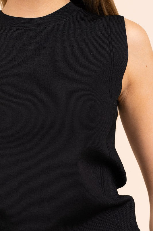 Know The Basics Black Ribbed Sleeveless Top