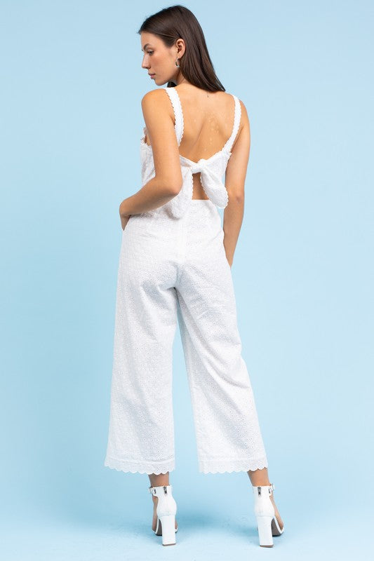 Got My Eye-let on You White Eyelet Jumpsuit with Open Tie Back