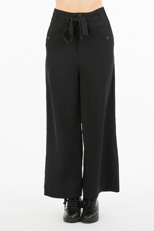 Black High Waisted Wide Leg Pants with Tie