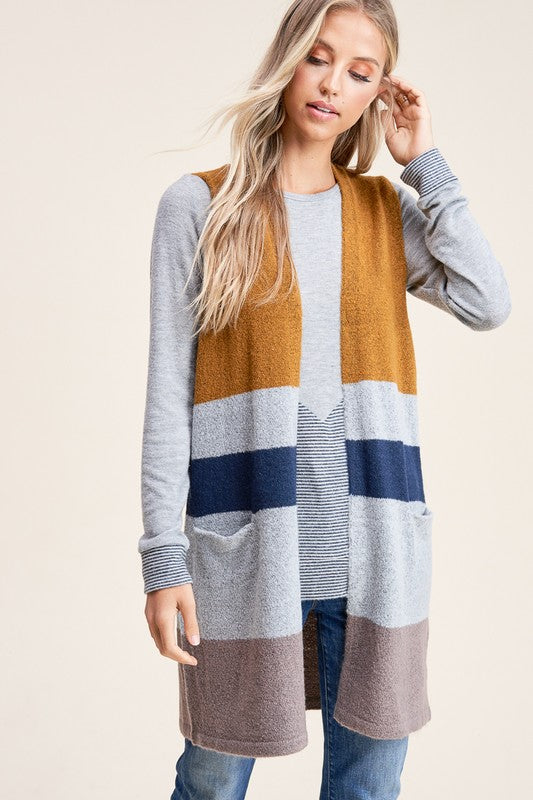 Camel & Grey Color Block Sleeveless Cardigan