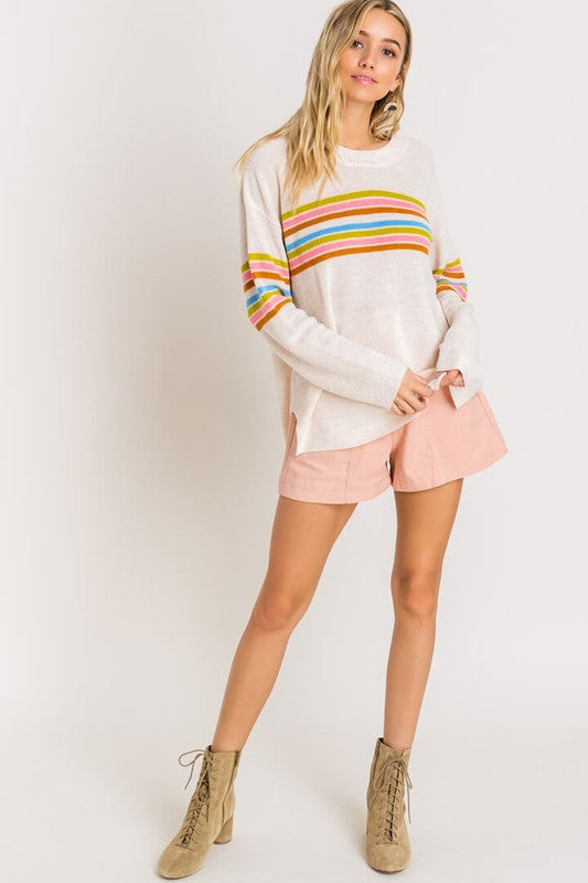 In Line White Multicolor Striped Knit Sweater