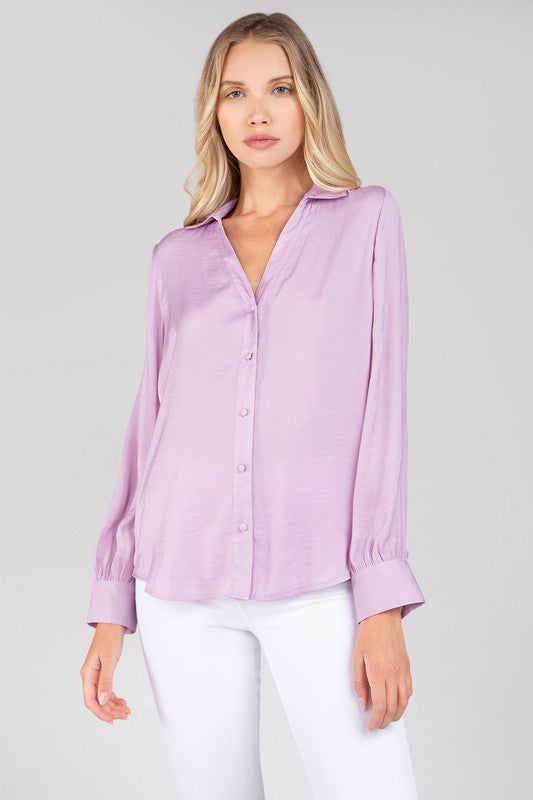 Your Shine is Now Lavender Satin Button Up Top