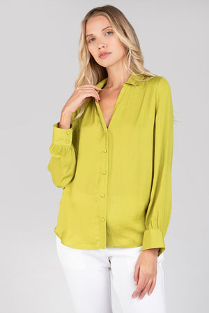 Lime Green Long Sleeve V Neck Top