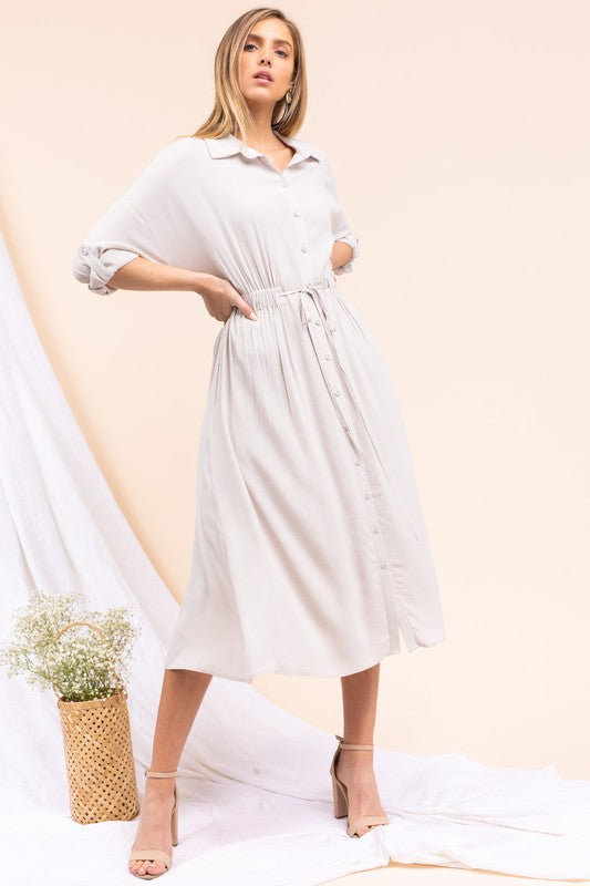 Light Grey Long Sleeve Button Up Midi Dress with Drawstring Waist