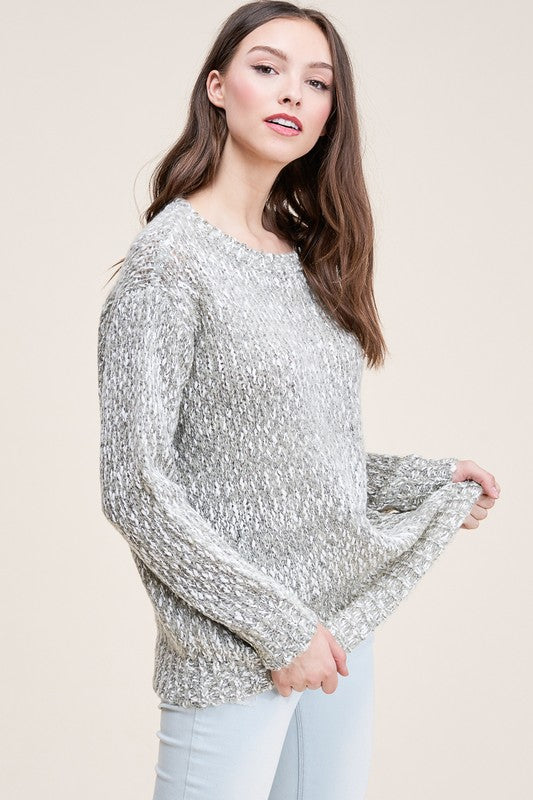 Grey & Sea Foam Mottled Woven Sweater
