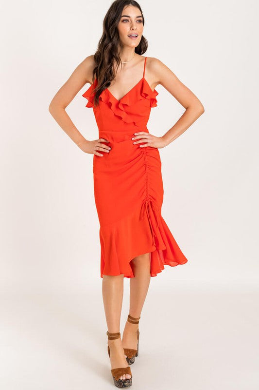 Bring The Heat Red Ruched Ruffle Midi Dress