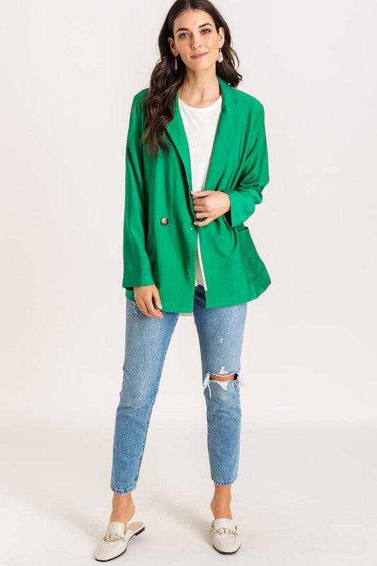All Business Green Blazer with Front Pockets