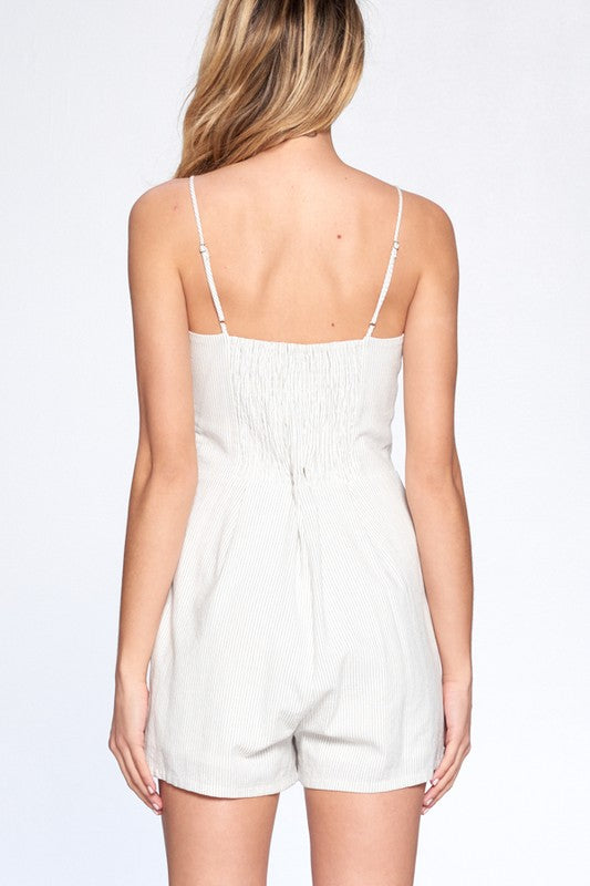 In It To Linen It White Thin Stripe Button Up Tie Front Romper