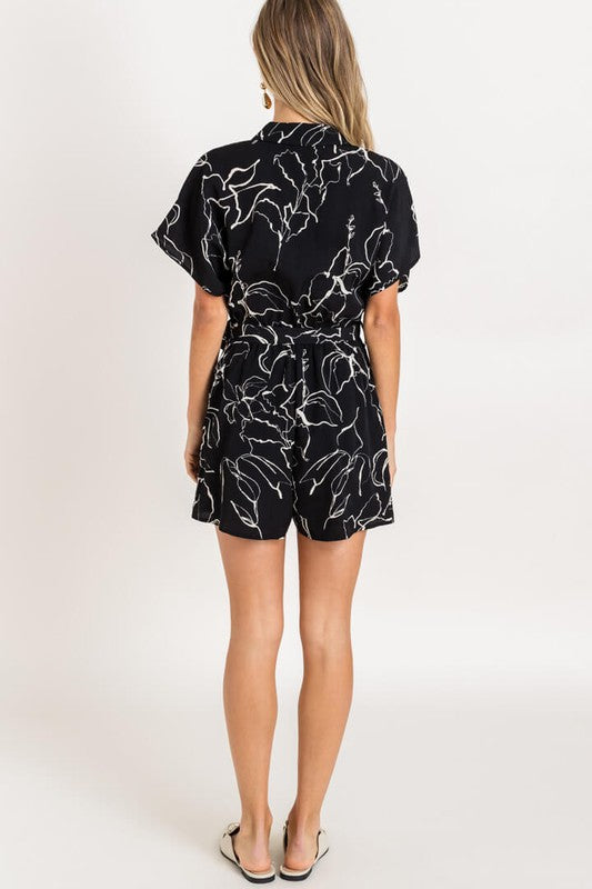 Bold Moves Black Abstract Print Short Sleeve Romper with Tie
