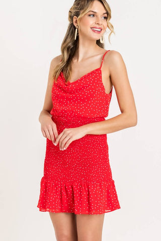 Canvas Polka Dot Peasant Sleeve Top with Elastic Back