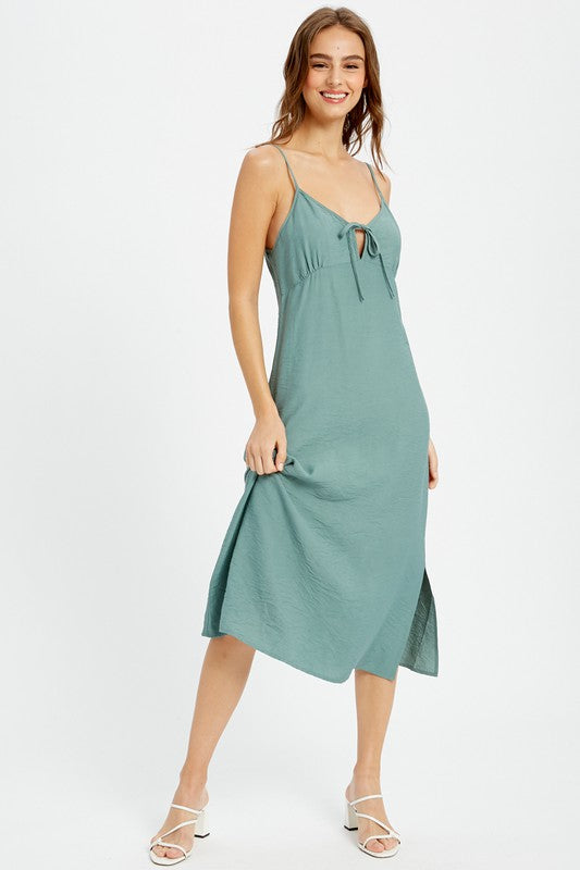 Teal Me About It Light Teal Simple Midi Dress with Keyhole Front