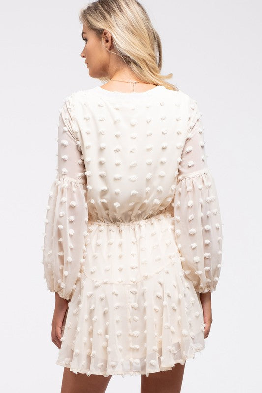 Texture You Later Cream Long Sleeve Textured Dress with Elastic Waist