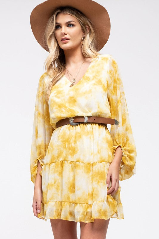 Yellow Tie Dye For Dress with Elastic Waist