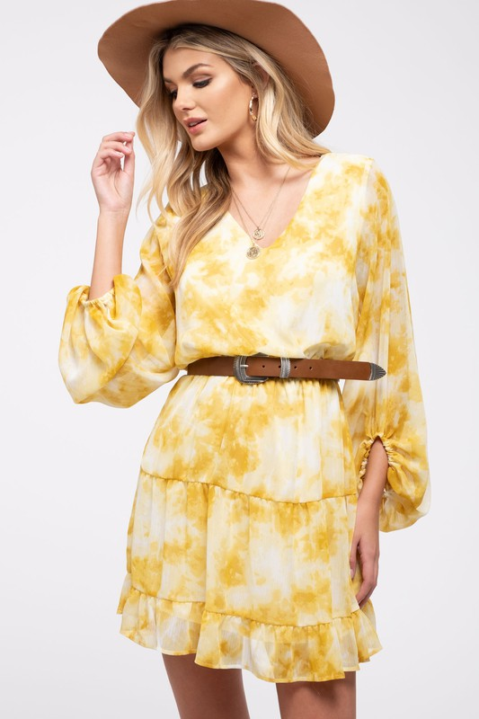 Yellow Tie Dye Long Sleeve Dress with Elastic Waist