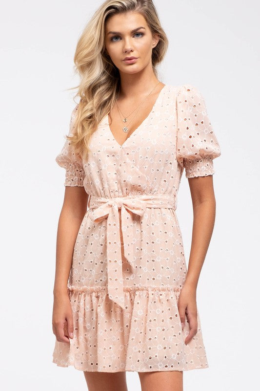 Light Peach Eyelet Short Sleeve Ruffle Dress with Tie Waist