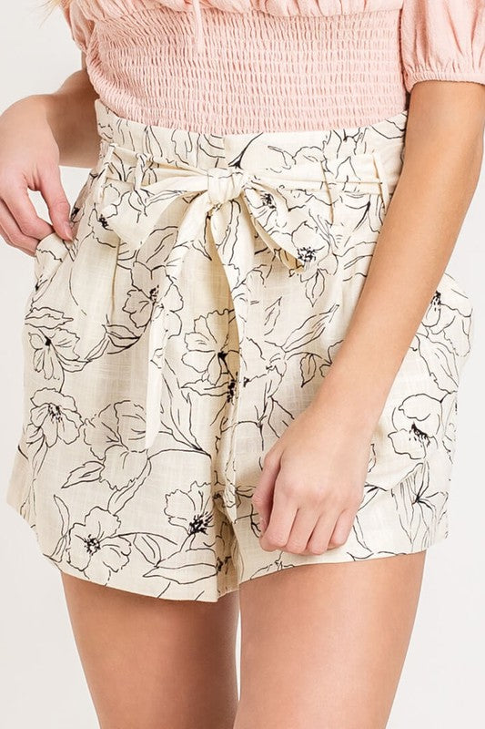 Flower after Flower Cream Print High Waisted Shorts