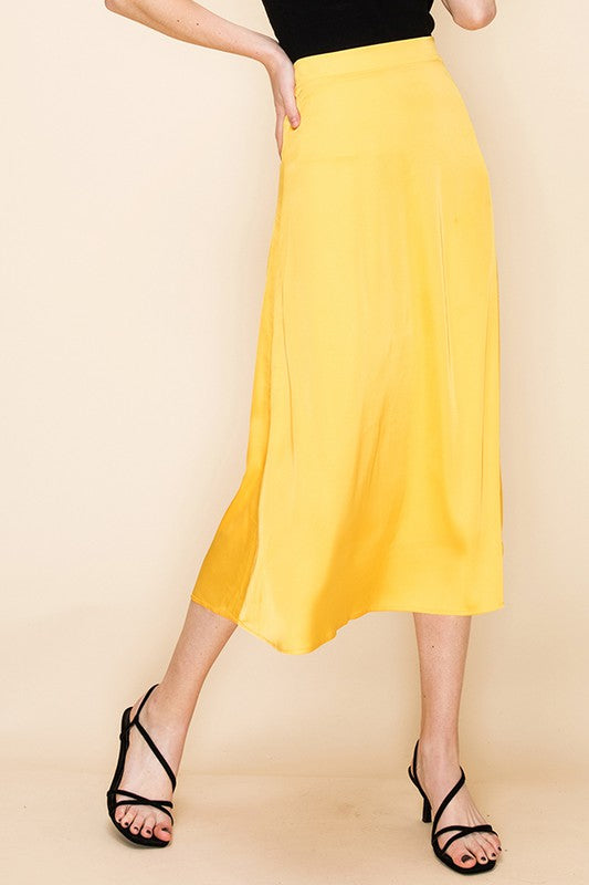 Yellow Silk Simple Midi Skirt