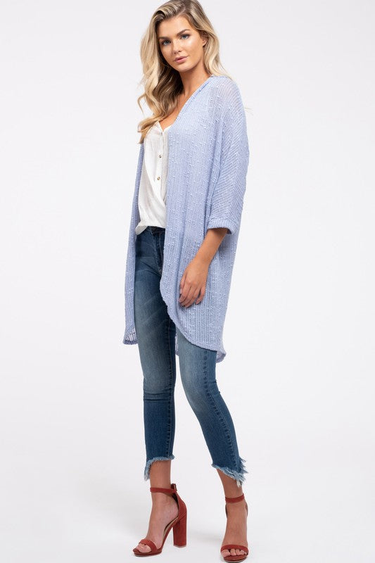 Baby Blue Lightweight Open Cardigan with Rolled Sleeves
