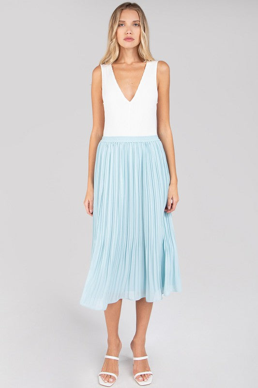 Pale Blue Pleated Midi Skirt with Elastic Waist