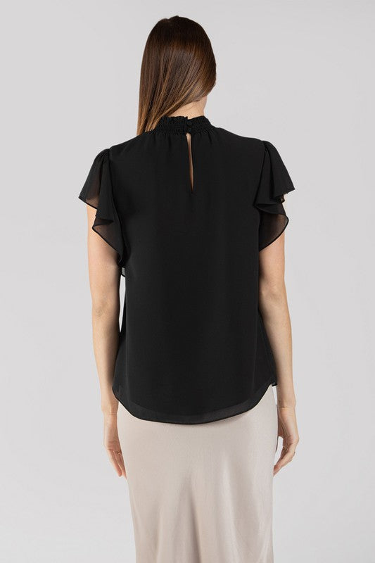 Black Flutter Sleeve High Neck Keyhole Top