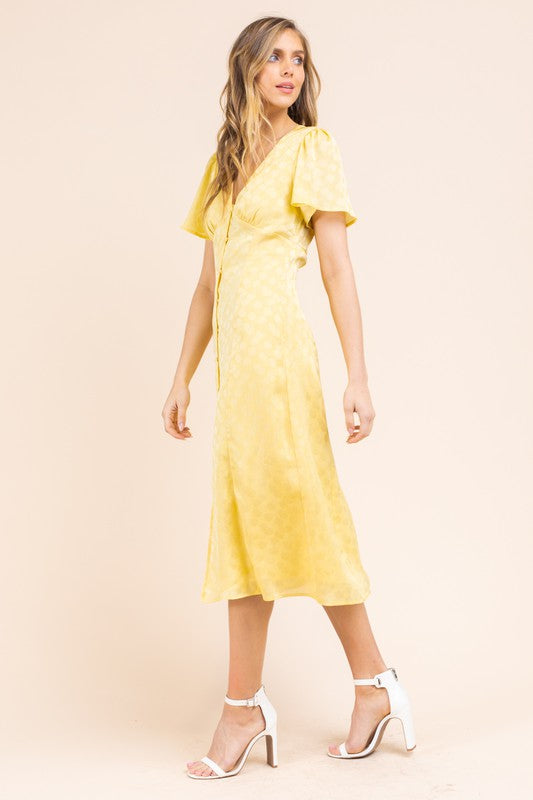 Yellow Dot Empire Waist Short Sleeve Midi Dress