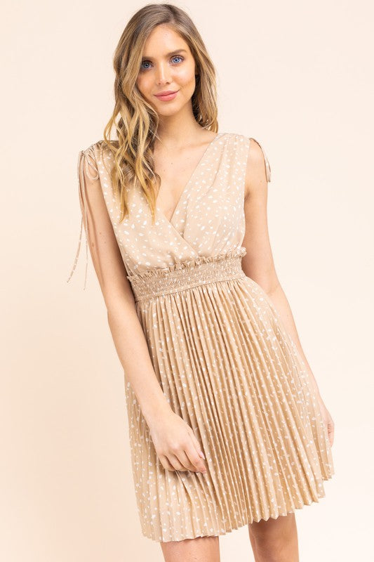 Let's Get Deep-V Tan Dot Print Sleeveless Dress with Pleated Bottom