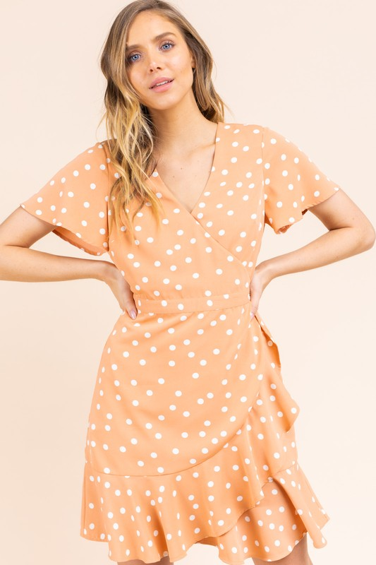 Peach Polka Dot Wrap Short Sleeve Dress