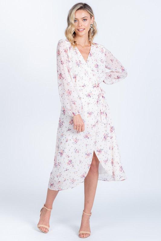 Blossom in Blush Floral Long Sleeve Wrap Dress