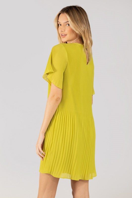 Steal The Limelight Lime Green Short Sleeve Pleated Dress