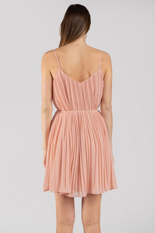 Just Peachy Pleated Shift Dress with Tie Belt