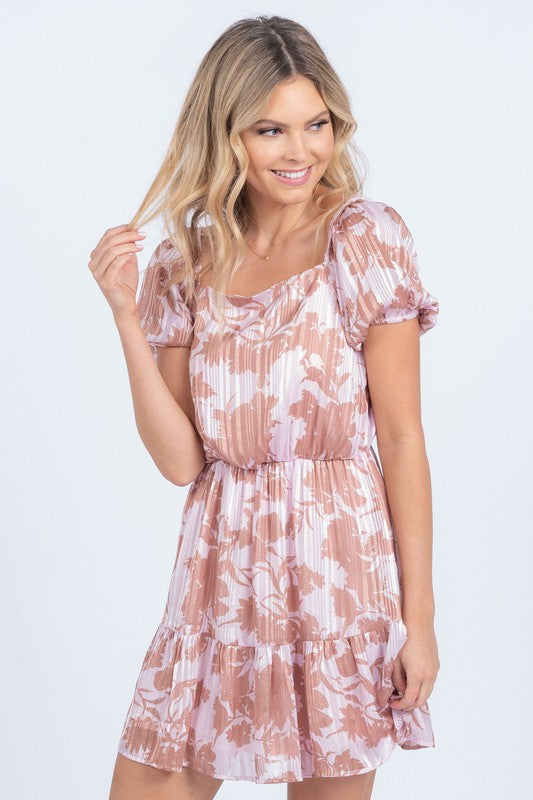 Pink Pastel Floral Puff Sleeve Dress with Metallic Detailing
