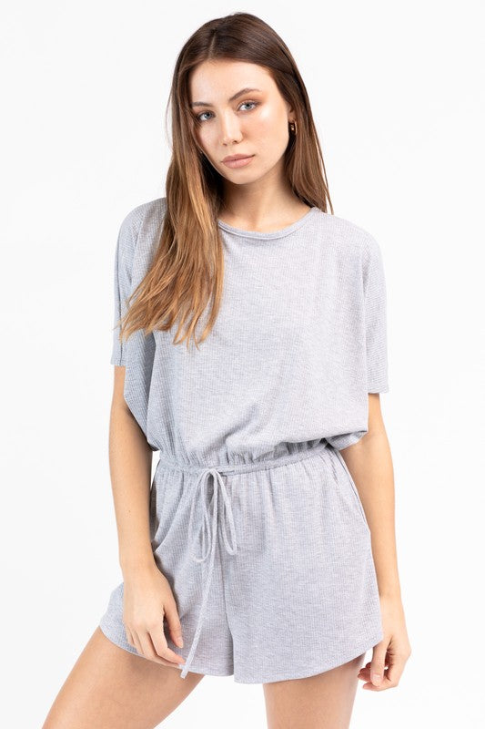 Netflix & Chill Grey Ribbed Short Sleeve Romper