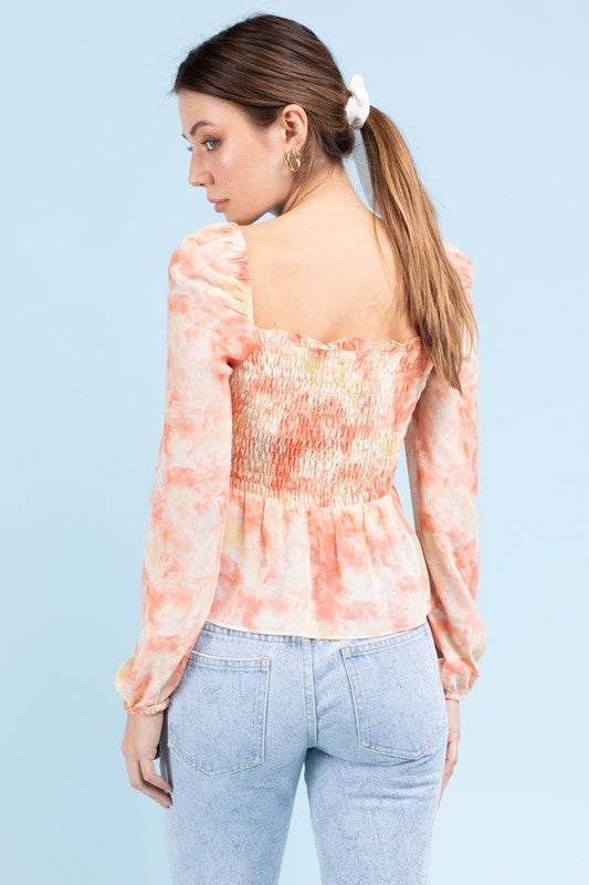 Pink & Yellow Tie Dye Smocked Peasant Top