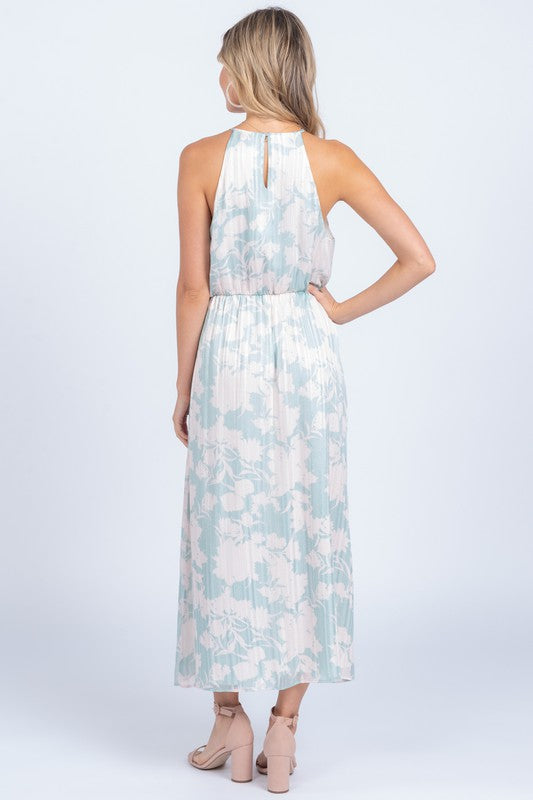 Pink & Mint Green Floral High Neck Sleeveless Maxi Dress
