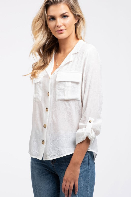 We Like Big Buttons White Long Sleeve Button Up Top