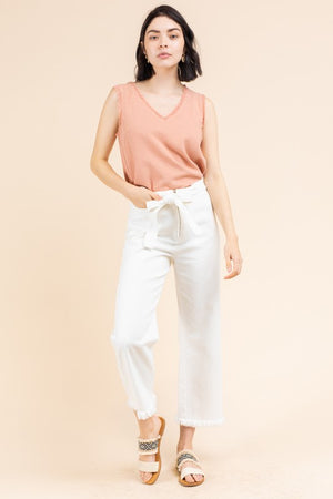 Fray To Go White Denim High Waisted Tie Jeans with Frayed Hem