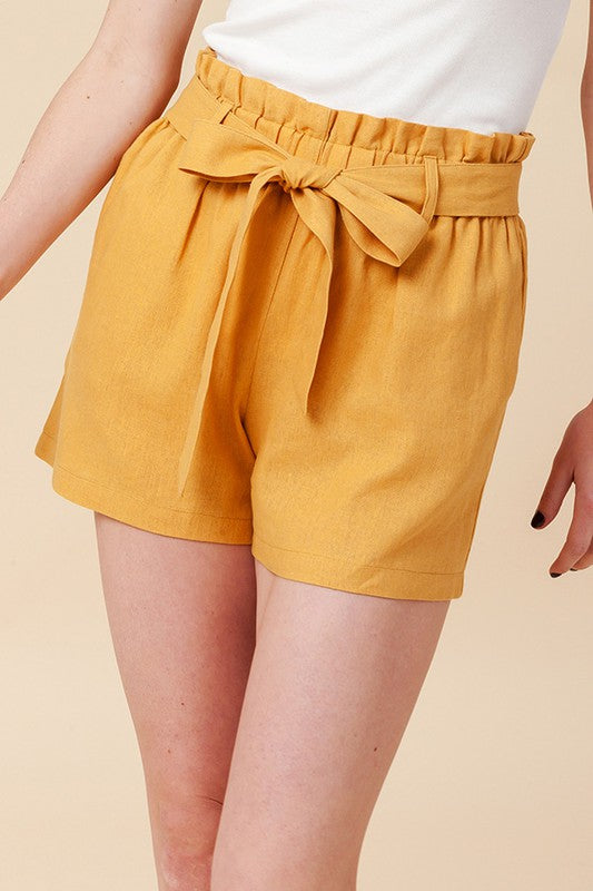 Keep it Short Yellow High Waisted Shorts with Tie Belt