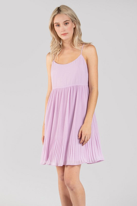 Pleat Be Mine Lavender Thin Strap Pleated Flowy Dress