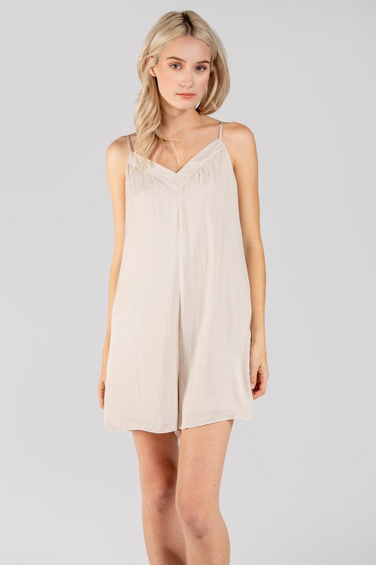 Go With The Flow Nude Thin Strap Flowy Romper